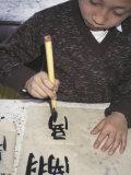 Boy Writing Chinese Calligraphy  Shanghai  China