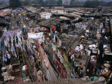 Overhead of Laundry Hanging at Dhobi Ghats  Mumbai  India