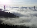 Fog Shrouds the Golden Gate Bridge and the Marin Headlands Near Sausalito