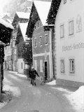 Snowy Street in Hallstat  Austria