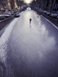 Skater on Frozen Canal  Amsterdam  Netherlands