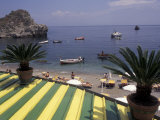 View of Mazzaro Beach from Restaurant  Taormina  Sicily  Italy