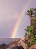 Rainbow over Tropical Beach of Anse Victorin  Seychelles