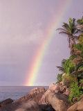 Rainbow over Tropical Beach of Anse Victorin  Seychelles
