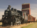 Steam Train and Grain Elevator in Western Development Museum  Saskatchewan  Canada