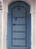 Moorish-styled Blue Door and Whitewashed Home  Morocco