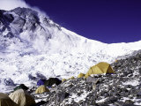 Advanced Base Camp with the Summit of Mt Everest on Everest North Side  Tibet