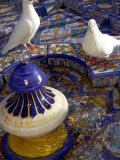 White Doves in Plaza Tiled Fountain  Sevilla  Spain