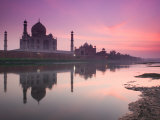 Taj Mahal From Along the Yamuna River at Dusk  India