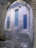 Blue Doors and Whitewashed Wall  Morocco