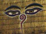 Watchful Eyes of Buddha Atop Swayambhunath Stupa  Kathmandu  Nepal