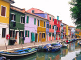 Colorful Building along Canal  Burano  Italy