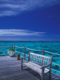 Pier and Bench at Reef  Moorea  French Polynesia  South Pacific