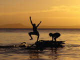 Children Playing on Lake Taupo  Taupo  New Zealand
