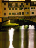 Ponte Vecchio and Arno River at Night  Florence  Italy