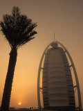 Palm Tree Next to Burj Al Arab Hotel at Sunset  Dubai  United Arab Emirates