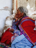 Profile of Woman in Traditional Embroidered Dress at Mass, Yanque, Peru Papier Photo par Jeffrey Becom