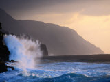 Surf Pounding Against Na Pali Coastal Cliffs at Dawn  United States of America