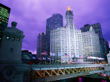 Michigan Avenue Bridge and Wrigley Building at Dusk  Chicago  United States of America