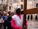 Christian Pilgrims in Easter Procession  Jerusalem  Israel
