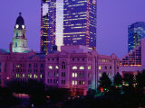 The Tarrant County Courthouse Contrasts Against High-Rise Buildings  Fort Worth  USA