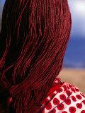 Maasai Warrior's Plaited Hair  Masai Mara National Reserve  Kenya