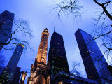 Historic Water Tower and Skyscrapers at Dusk  Chicago  United States of America