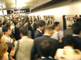 Commuters Boarding Train During 8Am Rush Hour at Ueno Station  Ginza Line  Tokyo  Japan