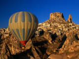 Hot-Air Ballooning Over Town  Uchisar  Turkey