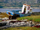 Old Fishing Boat Hauled up on Shore  Manin Bay  Connemara  Ireland