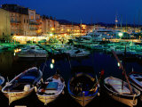 Boats in Port and Waterfront Buildings at Night  St Tropez  France