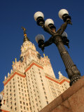 Moscow State University with Lamp-Post in Foreground  Moscow  Russia