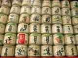 Sake Casks Near Meji Jingu Shrine  Tokyo  Japan