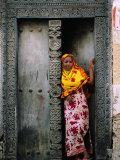 Swahili Girl in Zanzibar Doorway  Bagamoyo  Tanzania