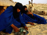 Tuareg Men Preparing for Tea Ceremony Outside a Traditional Homestead  Timbuktu  Mali