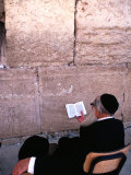 Man Reading a Text at the Wailing Wall  Jerusalem  Israel