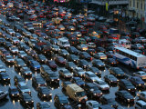 Overhead of Traffic During Evening Rush Hour  Garden Ring  Moscow  Russia