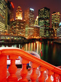 Chicago River and City Buildings at Night from Michigan Avenue Bridge  Chicago  USA