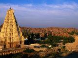 Overhead of Virupaksha Temple  Hampi Bazaar and Surrounding Hills from Hemakuta Hill  Hampi  India