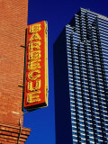 Restaurant Sign and Modern Building  West End Historic District  Dallas  United States of America