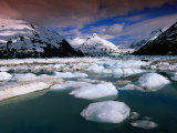 Icebergs and Mountains at Portage Lake  Portage Glacier Recreation Area  Anchorage  USA