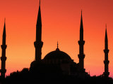 Dome and Minarets of Blue Mosque  Sultan Ahmet Camii  Istanbul  Turkey
