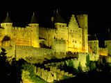 Chateau Comtal and Medieval Walled City at Night Above &quot;New Town&quot;  Carcassonne  France