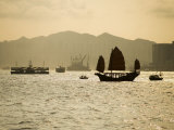 Duk Ling Junk Sailing on Hong Kong Harbour  Hong Kong  China