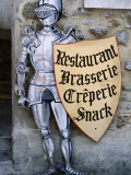 Knight in Armour Restaurant Sign in Medieval Walled City  Carcassonne  France