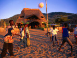 People Playing Volleyball Outside Indaba Bar  Cape Maclear  Malawi