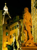 Michelangelo's David (Copy) and Other Statues on Piazza Della Signoria at Night  Florence  Italy
