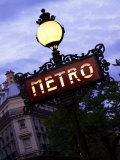 Classic Art Nouveau Metro Sign at Odeon Metro Station  Paris  France
