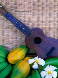 Green Bananas  Papayas  Plumeria and Ukulele  USA