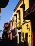 Colonial Facades in Street  Cartagena  Colombia